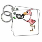 3dRose Funny Cute Pink Flamingo Bird Playing Tennis - Key Chains, 2.25 by 2.25-inch, Set of 2 Schlüsselanhänger, 6 cm, Mehrfarbig (Varies)