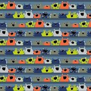 BIO Popeline Baumwollstoff MONSTERS, blue, by Poppy 50 x 150 cm Meterware