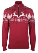Dale of Norway Dale Christmas Mens Sweater für Herren - Rot Norweger Pullover aus Merinowolle - M