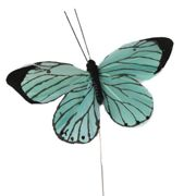 Donath Feder Schmetterling am Draht in Mint, 10 cm