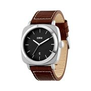 Edwin JULIUS Men's 3 Hand-Date Watch, Stainless Steel Case with Brown Leather Band