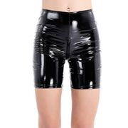 FEESHOW Frauen Wetlook Hotpants kurz Leggings Lederhose im Schritt offen Lackleder Shorts Dessous Sexy Clubwear Slim Fit Typ_B S