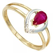 Damen Ring 585 Gold Gelbgold bicolor 1 Rubin rot 3 Diamanten Brillanten (Ringgröße 58)
