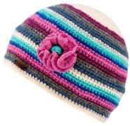KuSan Crochet Beanie with Flower blue pink - Größe One size