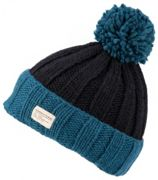 KuSan Ribbed Turn Up Bobble black teal - Größe One size