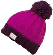 KuSan Ribbed Turn Up Bobble purple pink - Größe One size