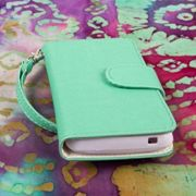 MPERO FLEX FLIP Wallet Case Tasche Hülle for ZTE Engage N8000 - Mint/Weiß