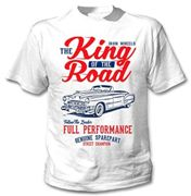 TEESANDENGINES Herren Cadillac Convertible 49 Iron Wheels King White T-Shirt Gr. L, weiß