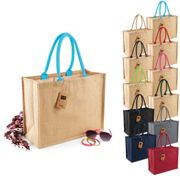 WM407 Westford Mill Jute Classic Shopper Graphite Grey 42 x 33 x 19 cm